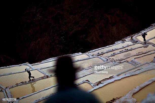 Miners carry bags of salt at the preColumbian salt mines in the Sacred Valley of the Incas in the Cuzco region of Maras Peru on Wednesday July 29...
