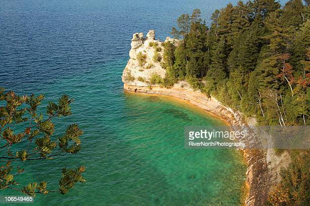 miners castle, michigan - pictured rocks national lakeshore stock pictures, royalty-free photos & images
