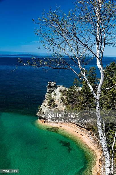 miners castle, pictured rocks national lakeshore - munising michigan stock pictures, royalty-free photos & images