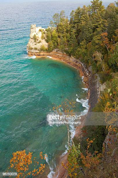 miners castle, pictured rocks - pictured rocks national lakeshore stock pictures, royalty-free photos & images