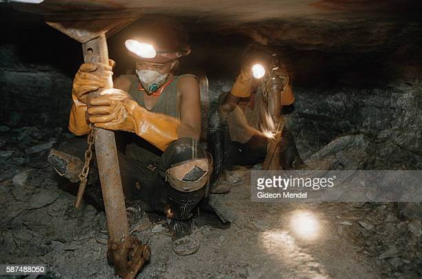 Miners drilling underground at Great Noligwa gold mine Working conditions can be extremely cramped and physically difficult An estimated 30% of South...