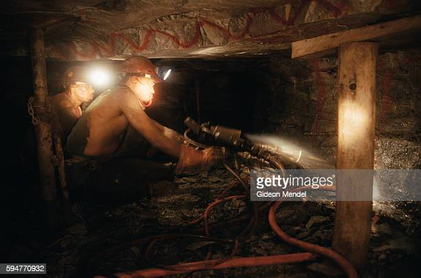 Miners drilling underground at the Great Noligwa gold mine Working conditions can be extremely cramped and physically difficult An estimated 30% of...