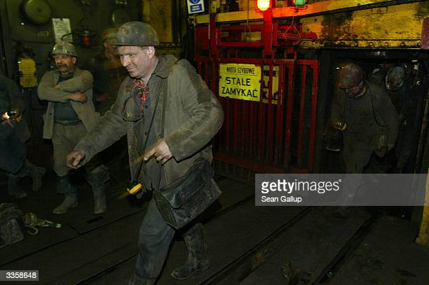 Miners emerge from a shift underground at the Wieczorek coal mine April 14 2004 in Katowice Poland Poland will be the largest producer of coal in the...
