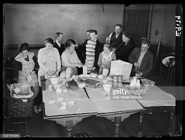 Miners' families preparing strike hampers at Bedwas Wales 1936 A photograph of miners' families preparing for a 'staydown' strike at Bedwas Colliery...