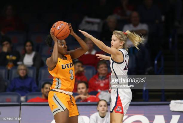 Miners forward Jordan Alexander gets defended by Arizona Wildcats guard Bryce Nixon during a college women's basketball game between the UTEP Miners...