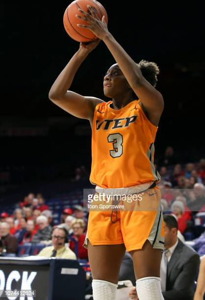 Miners forward Jordan Alexander shoots the ball during a college women's basketball game between the UTEP Miners and the Arizona Wildcats on December...