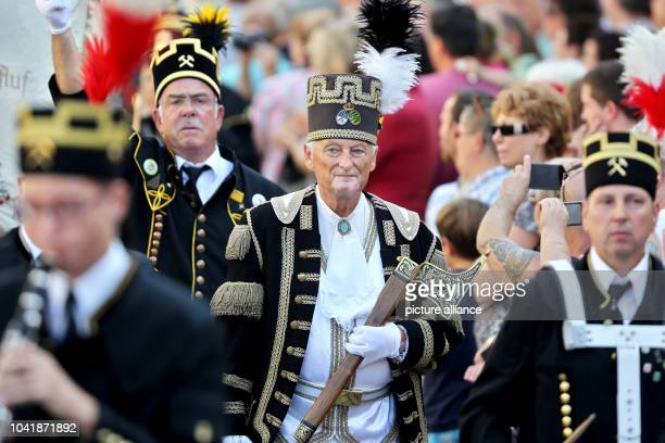 Miners from Mansfelder Land participating in the festival parade for the 20th Day of SaxonyAnhalt in Sangershausen Germany 11 September 2016 The...