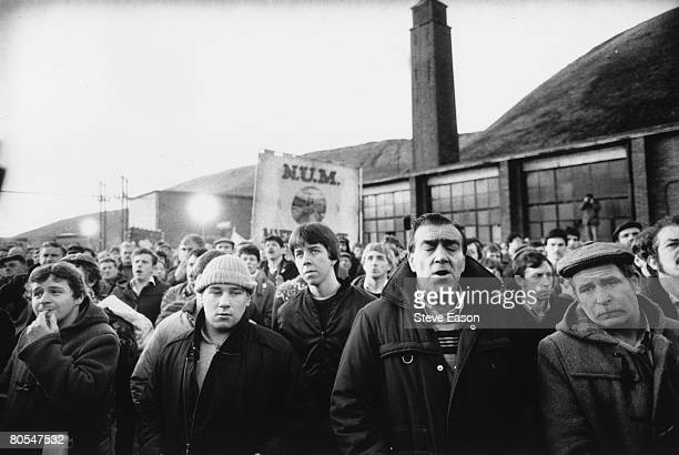Miners from the Maerdy Lodge in Gwent return to work following the miners' strike 5th March 1985