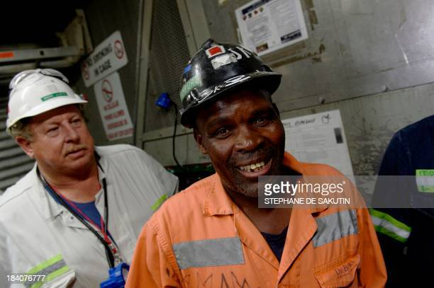 Miners go back up to the surface on October 10 2013 at the Cullinan Diamond Mine 100 kms northeast of Johannesburg The mine is famous for large high...