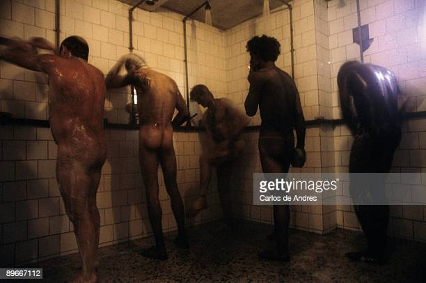 Miners group taking a shower A group of miners takes a shower in the installations of a mine of coal in Ponferrada Leon province