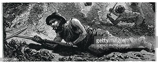 miners in the pit, illustration - coal miner stock photos and pictures
