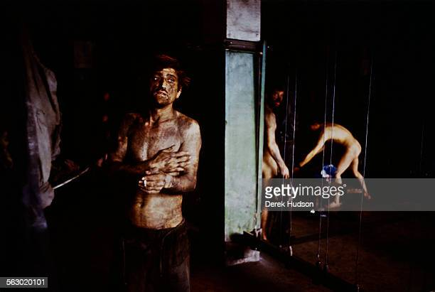 Miners in the shower rooms at the Lonea Coal Mine in Petrila in the Jiu Valley of Romania 20th June 1990