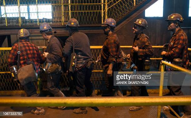 Miners leave the shaft at the Knurow mine after a night shift on November 23 2018 in Knurow in Poland's southern mining region of Silesia In Brussels...