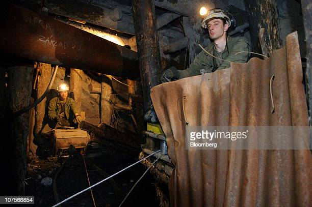 Miners monitor the transportation of uranium ore at the uranium mine operated by Geam a division of Diamo SP mining company in Rozna Czech Republic...