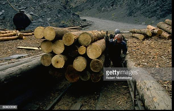 Miners moving load of hewn logs at 1 of world's largest open pit coal mines in Central Steppes region Ekibastuz
