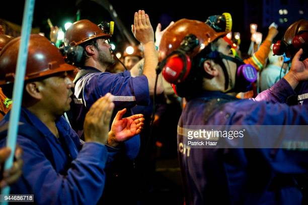 Miners of Fiscal Coal Fields of Rio Rurbio chant during an antorch protest alongside ATE CTA Autonomous and laid off workes of INTI at National...