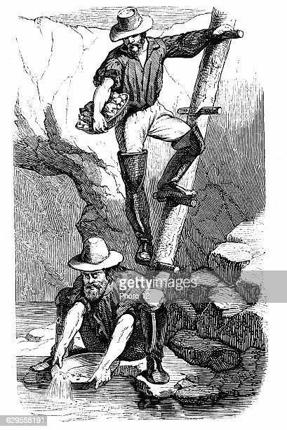 Miners panning for gold during the Californian Gold Rush Wood engraving published Paris 1849