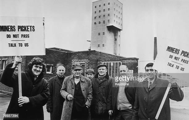Miners' pickets outside Salford Colliery in Lancashire during a national strike, 11th February 1974.