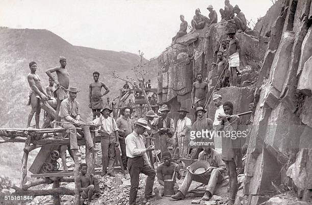 Miners posing at the Republic Gold Mining Company in De Kaap South Africa Photo circa 1888