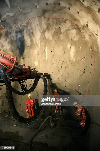Miners prepare a stone wall for detonation at the construction site for the Gotthard Base Tunnel on April 19 2007 near Sedrun Switzerland Deep...