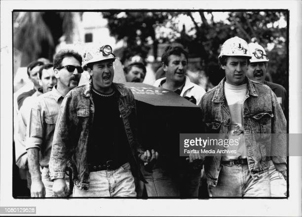 Miners Protest outside state Parliament L To R Wayne Dorrington and Warren Jacobson from Newvale Coal MineShaftedAngry miners of last months sackings...