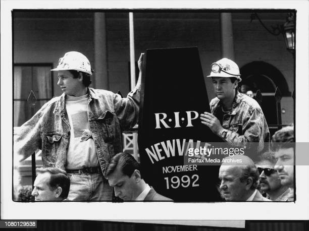 Miners Protest outside State Parliament L To R Wayne Dorrington and Warren Jacobson from Newvale Coal Mine November 17 1992