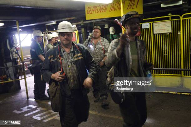 Miners return to the surface after their shift at the OKD AS Darkov coal mine in Ostrava Czech Republic on Friday Sept 24 2010 New World Resources NV...