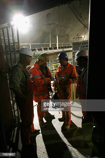 Miners return to work at the construction site for the Gotthard Base Tunnel on April 19 2007 near Sedrun Switzerland Deep beneath the Alps the Swiss...