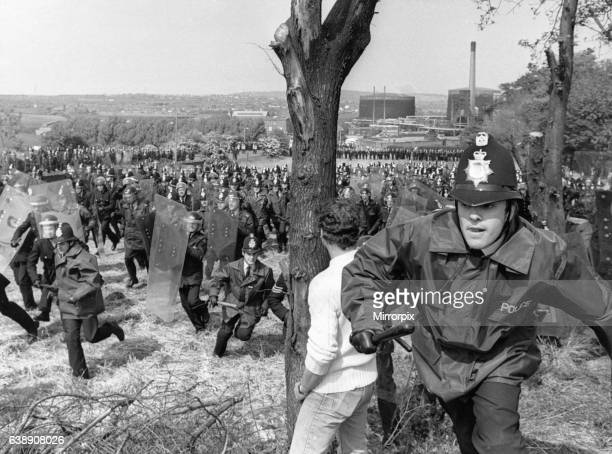 Miners Strike 1984 Battle of Orgreave 18th June 1984 Thousands of striking miners picket outside the Orgreave coke works near Rotherham Where they...