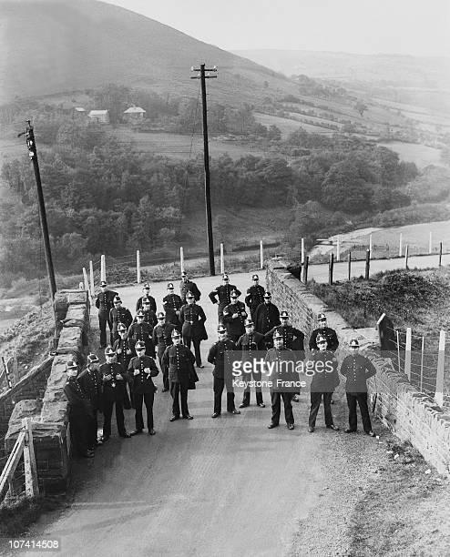 Miners Strike.Police Guarding A Bridge Near Bedlinog In South Wales On October 1935.