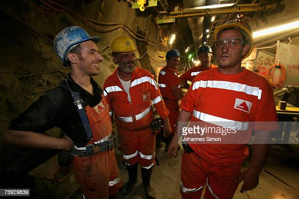Miners take a break at the construction site for the Gotthard Base Tunnel on April 19 2007 near Sedrun Switzerland Deep beneath the Alps the Swiss...