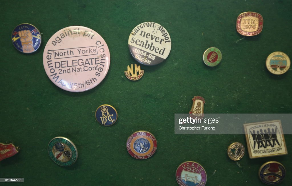 Miners union pin badges on displayin the council chamber at the