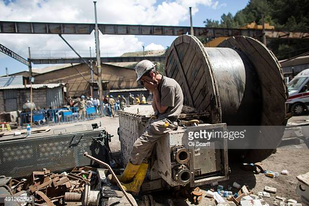 Miners wait anxiously at the entrance to the mine in Soma which collapsed on Tuesday killing at least 284 people on May 16, 2014 in Soma, Turkey....