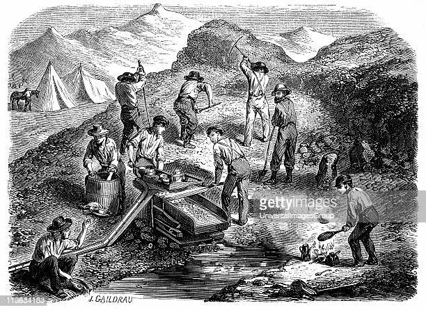 Miners washing for gold using a cradle in the Californian gold fields Wood engraving published Paris the year of the Californian Gold Rush