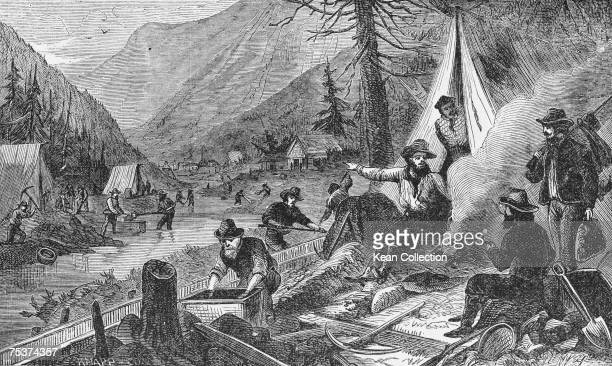 Miners washing gold in a river valley during the California Gold Rush 1849