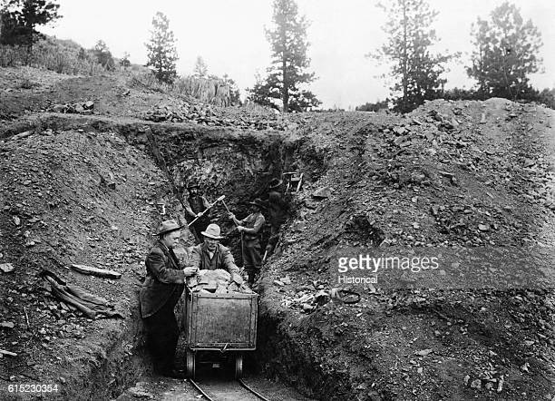 Miners work at Little Giant mind in Pony Gulch Pike National Forest Colorado Ca 19001920
