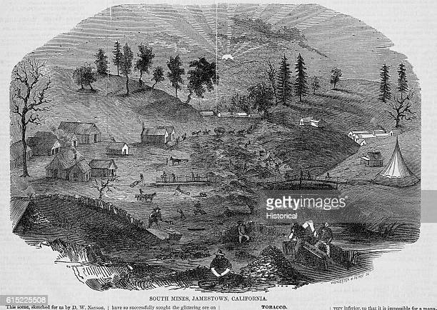 Miners work at the south mines of Jamestown California During the gold rush hundreds of mining camps sprang up all over the state Illustration from...