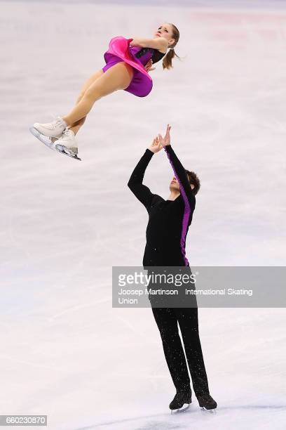 Minerva Fabienne Hase and Nolan Seegert of Germany compete in the Pairs Short Program during day one of the World Figure Skating Championships at...