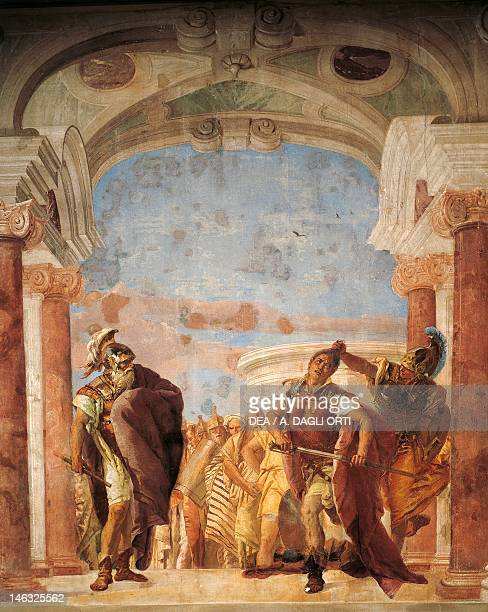 Minerva restraining Achilles from killing Agamemnon by Giambattista Tiepolo fresco The Iliad Room Villa Valmarana 'Ai Nani' Vicenza
