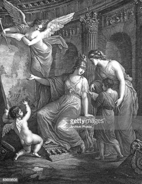 Minerva the Roman goddess of wisdom instructs a young student to find his inspiration in Italy and Greece in the frontispiece to 'The Works in...