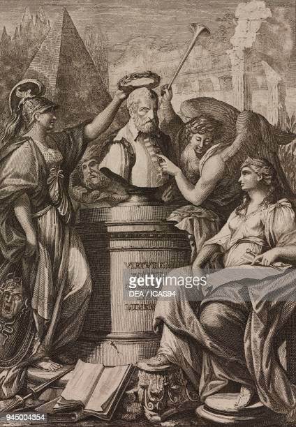 Minerva Time Fame and Architecture surrounding the bust of Jacopo Barozzi da Vignola engraving by Carolus Antonini after a drawing by Franciszek...