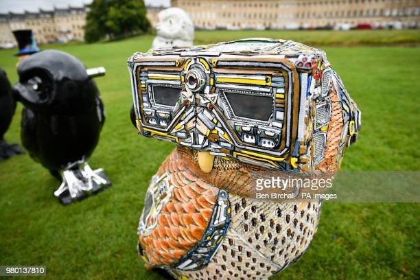 Minerva's Owls of Bath sculpture, titled 'DigitOwl', one of 85 decorated owls that are part of an art trail that takes place around the city for...