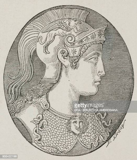 Minerva's profile illustration from Histoire des grecs volume 1 Formation du peuple grec by Victor Duruy