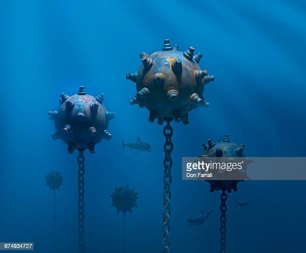 mines under water - land mine stock pictures, royalty-free photos & images