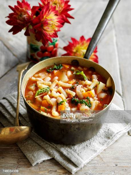 Minestrone in a saucepan