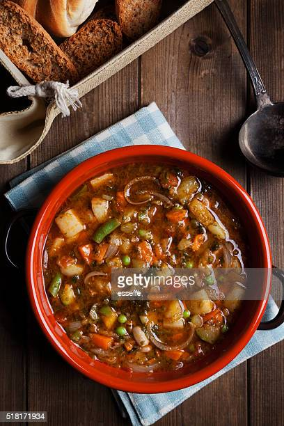 minestrone soup on the pot