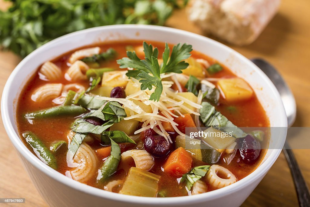 Minestrone Soup with Pasta, Beans and Vegetables : Stock Photo