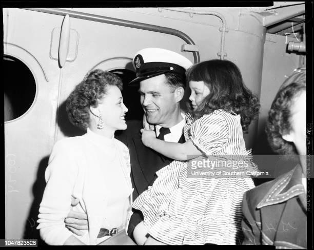 Minesweepers return from Korea 3 December 1953 Lieutenant Alfred G RusillioPatricia Rusillio 2 1/2 monthsJack Ryder Storekeeper First ClassHugh Brown...