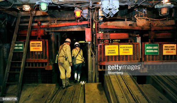 Mineworkers enter the elevator shaft at the Krupinski coal mine in Suszec Poland on Friday Sept 18 2009 The government has said it plans to build...