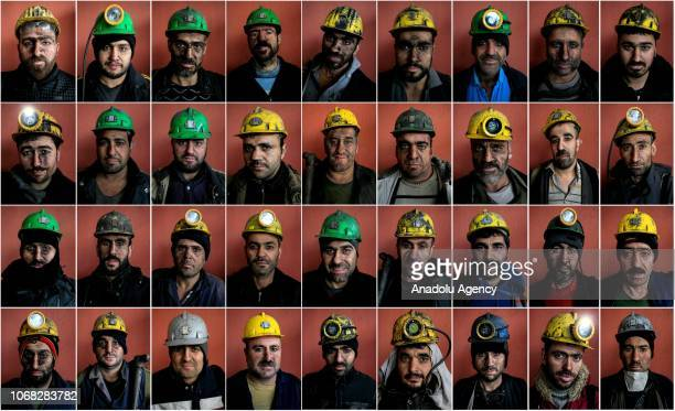 Mineworkers pose for a photo at a lignite coal mine quarry in Soma district of Manisa which is the most significant lignite coal mine resource in...